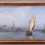 Wilhelm Karl Ferdinand Arnesen (1864-1948), O/C Large Harbor Scene