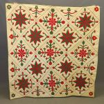 19th c. green, red and white N.Y.S. floral applique quilt