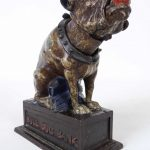 C. 1880 cast iron bulldog mechanical bank. J. E. Stevens
