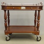 Christofle serving trolley. Labeled. Silverplate and wood