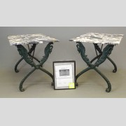Rare Pair Of Cast Iron Marble Top Classical Tables