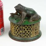 Early cast iron Frog On Lattice mechanical bank. J. & E. Stevens Co.