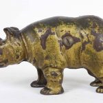 C. 1910 cast iron Rhino still bank
