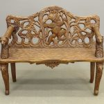 Black Forest carved walnut bear settee