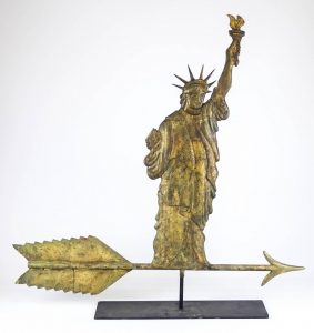 Statue of Liberty weathervane. Similar to example from Smith College Museum of Art