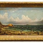 "Folk art seascape signed ""Nellie Maroone"". Oil on canvas."