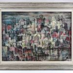 "George Chann (1913-1995), abstract, oil on canvas. Signed LRC. Titled ""Hong Kong Views '67"""