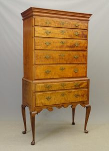 18th c. Queen Anne Curly Maple Highboy