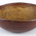 18th c. figured ash burl bowl in old red paint