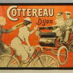"Early framed French poster ""COTTEREAU Dijon""."