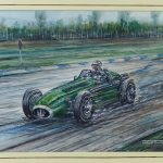 "Phil May (20th Century), ""Stirling Moss Maserati, 250 F, 1954"". Gouache and watercolor"