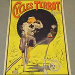 "Large 19th c. French bicycle poster ""CYCLES TERROT DIJON"""