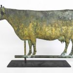 Bull weathervane in worn gold and verdigris patina