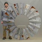 """Large metal windmill fan. 71"""" D.."""