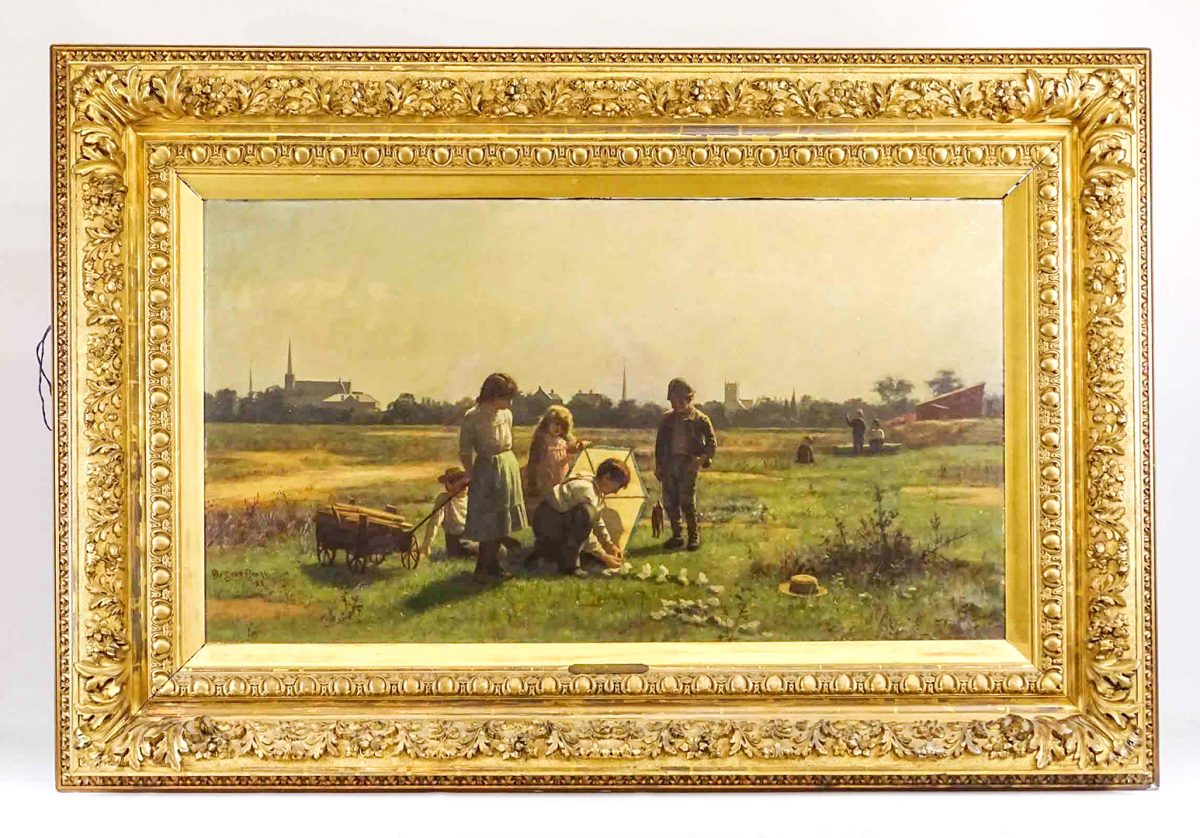 "De Scott (David) Evans (Indiana / Ohio1847-1898, ""Happy Hours"", landscape with children, signed and dated 1885 LLC. Oil on canvas."