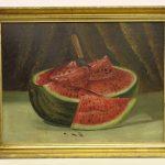 American School,19th c. watermelon. Oil on artist board