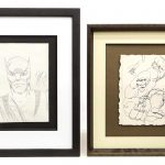 Lot (2) pieces of original framed comic artwork. Includes The Hulk and Wolverine