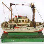 Early painted wooden folk art boat model
