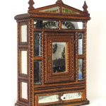 19th c. Tramp Art Mirrored Cabinet