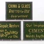 Set of (3) C. 1920-30's reverse painted on glass trade signs