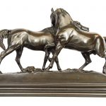 Pierre Jules (PJ) Mene (1810-1879), two horses, bronze
