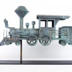 Copper locomotive weathervane in verdigris patina
