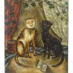 19th c. cat painting, oil on canvas