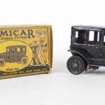"Early boxed Marx toy ""COMICAR"". C. 1920's windup car."