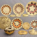 "Native American baskets including Navajo Wedding Plaques and Pima ""Man in Maze"""
