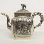 "Asian silver teapot. Possibly ""WC"" (Wing Chun H.K. silversmith, 1840-1915)"