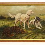M. Knell (20th C.) Oil on Canvas painting of dogs