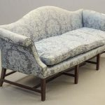 18th c. English mahogany camelback upholstered sofa