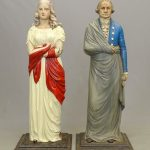 19th C. Painted Cast Iron George and Martha Washington Dumb Stoves