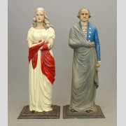 Rare pair 19th c. Dumb stoves of George Washington and Lady Liberty