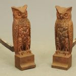 Pair C. 1900-20 cast iron Bradley and Hubbard owl andirons.