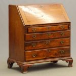 18th c. cherry Chippendale slant lid desk with Ogee bracket base