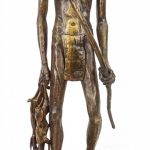 Lonnie Joe Edwards (20th Century), bronze of Native American with game.