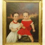 19th c. double portrait of children. Oil on canvas