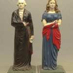 Rare pair 19th c. Dumb stoves of George Washington and Lady Liberty in polychrome paint surface. Made C. 1843 by Alonzo Blanchard, Albany N.Y.