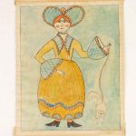 Fraktur, woman with cat on leash, watercolor on laid paper. Sussel-Washington artist, Penna
