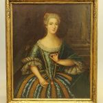 Early Colonial portrait of a woman. Oil on canvas. Newcomb Macklin frame.
