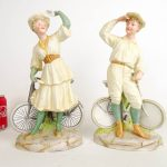Pair Heubach Figures with Safety Bicycles