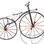 "19th c. boneshaker. 38"" front driving wheel and 32"" rear whee"