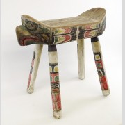 Northwest Coast Polychrome Painted Bench