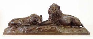 """Anna Vaughn Hyatt Huntington (1876-1973), """"Lion and Lioness"""", bronze, Gorham Co."""