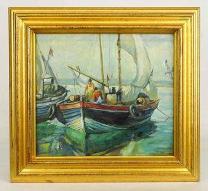 Painting: Emile Albert Gruppe (American 1896-1978), Gloucester Harbor scene