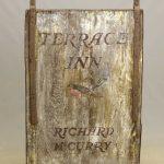 """19th c. pine, iron framed trade sign """"TERRACE INN"""""""