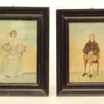 Pair 19th c. Folk Art Watercolors