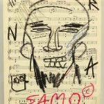"Attributed to Jean-Michel Basquiat (1960-1988), oil stick on sheet music ""SAMO"""