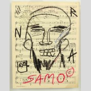 Attributed to Jean-Michel Basquiat (1960-1988), oil stick on sheet music